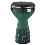 "Remo DJ-7113-61 13"" Flareout Djembe, Everglade Green, Black Suede Drum Head"